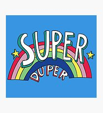 Super Duper Hand Drawn Seventies Style Rainbow Graphic Photographic Print