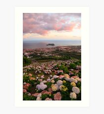 Azorean town at sunset Art Print