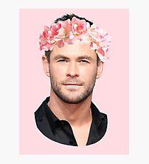Chris Hemsworth Flower Crown Photographic Print