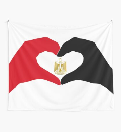 We Heart Egypt Patriot Flag Series  Wall Tapestry