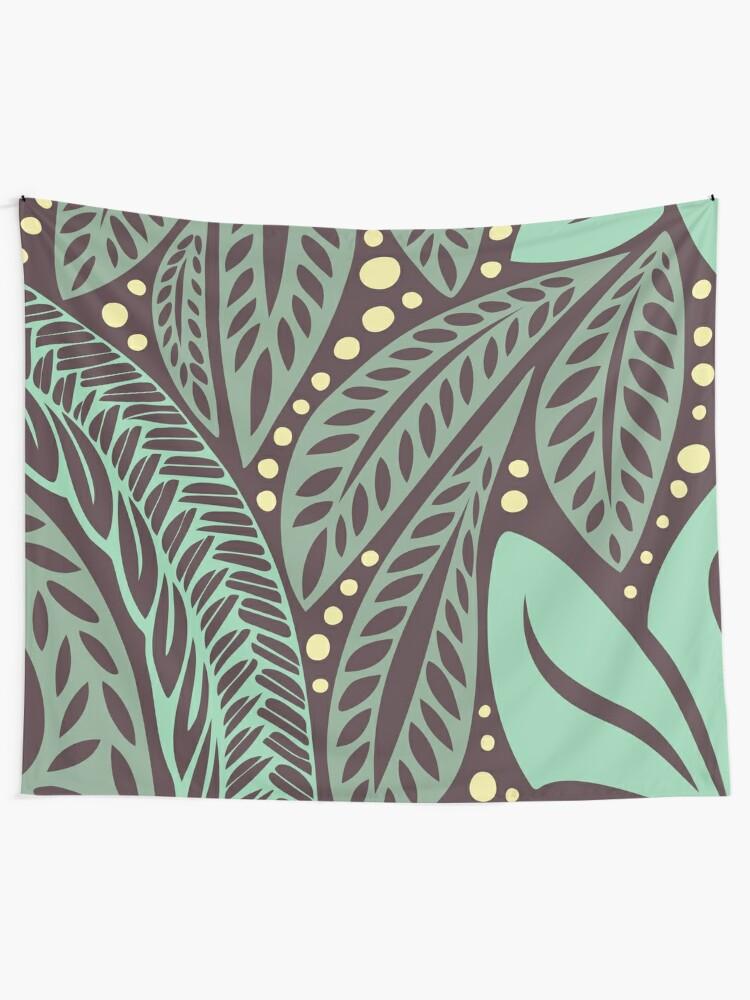 49e5f4bb1737b Polynesian Hawaiian green aubergine/eggplant floral tattoo design Wall  Tapestry