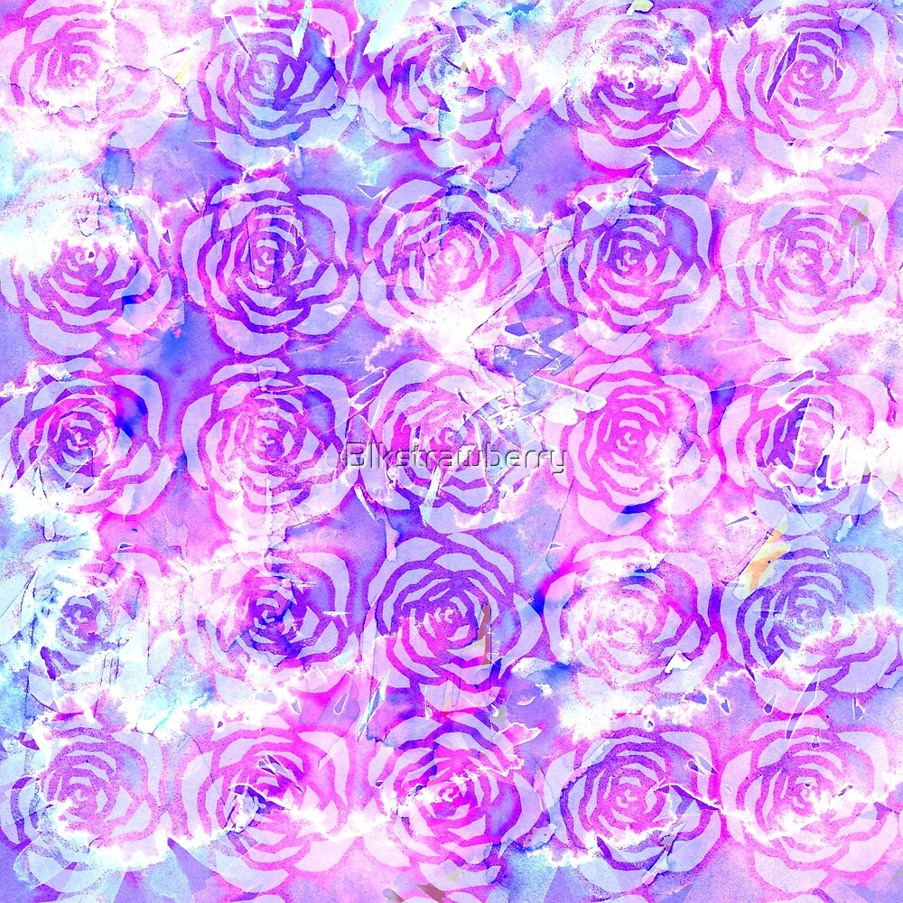 """Pink, Purple, and Blue Floral Watercolor Pattern"" by ..."