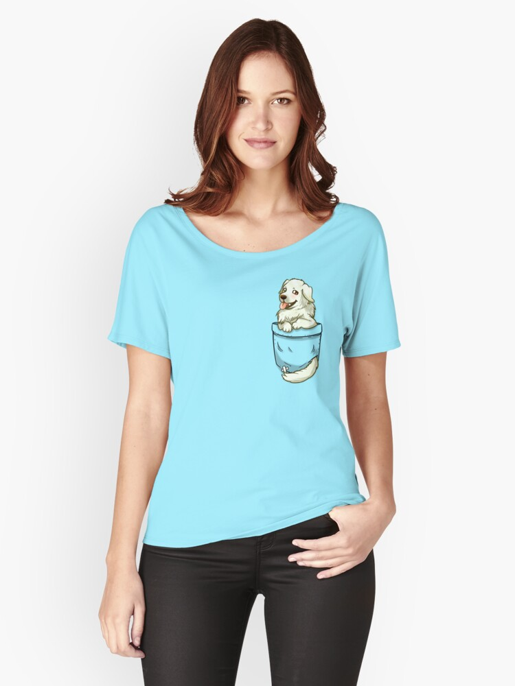 'Pocket Great Pyrenees Dog' Women's Relaxed Fit T-Shirt by TechraNova