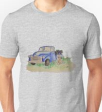 Vintage truck with weimaraner and grapes Unisex T-Shirt