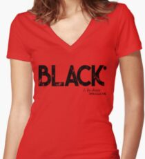 BLACK by Choice (black text) Women's Fitted V-Neck T-Shirt