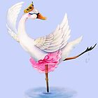 Swan ballet dancer whimsy watercolor by Sarah Trett