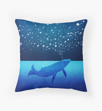 Whale Spouting Stars at Night Floor Pillow