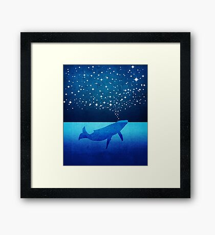 Whale Spouting Stars at Night Framed Print