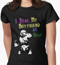 HALO I BEAT MY BOYFRIEND AT HALO Women's Fitted T-Shirt