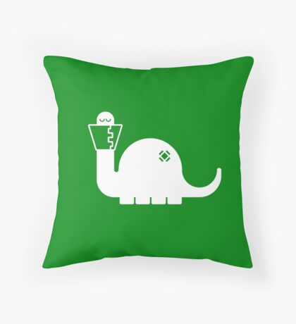 White Dinosore Throw Pillow