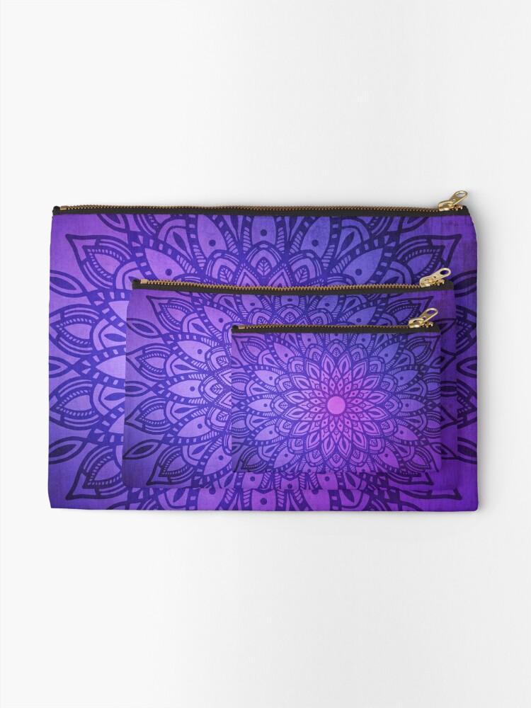 Alternate view of Dark Mandala in Purple, Pink and Navy Zipper Pouch