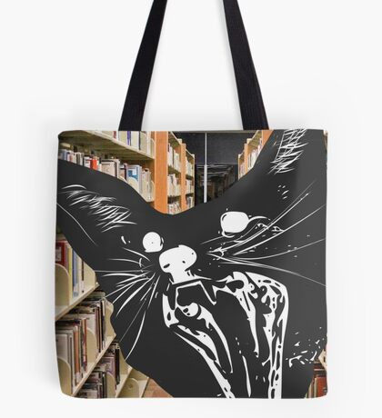 Surprised Cat in Library Tote Bag
