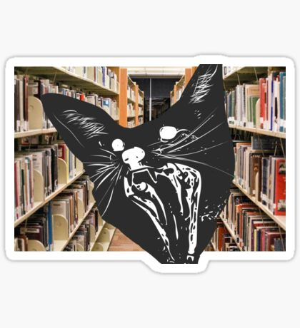 Surprised Cat in Library Sticker