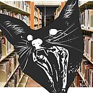 Surprised Cat in Library by Deana Greenfield