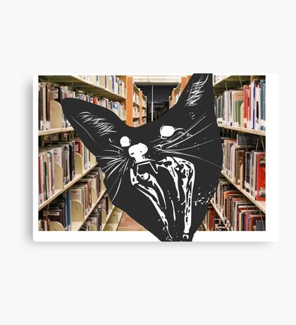 Surprised Cat in Library Canvas Print