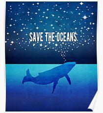 Rette die Ozeane - Star Spouting Whale Poster