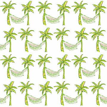 Tropical palm tree and hammock pattern by jmac111