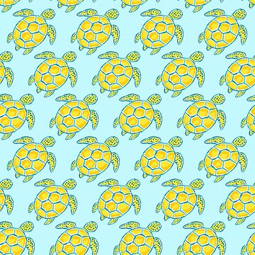 Tropical blue and yellow turtle pattern by jmac111
