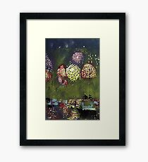 """""""Sydney NYE Fireworks"""" a multicolour reduction linocut by Geoff Hargraves Framed Print"""