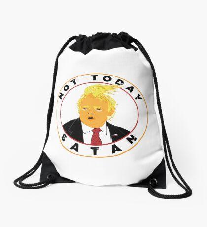 Not Today Satan Trump Drawstring Bag