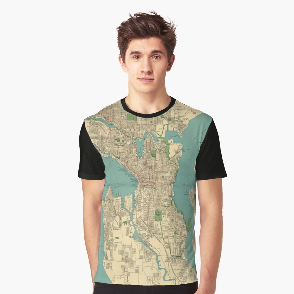 Seattle Vintage Map Graphic T-Shirt Front