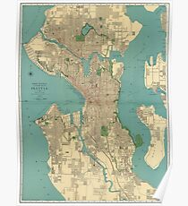 Seattle Vintage Map Poster