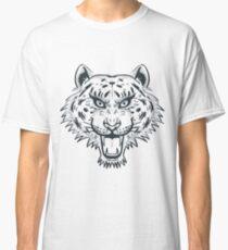 Tiger Head Tattoo Black and White Monochrome Classic T-Shirt