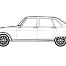 Renault 16 Classic Car Outline Artwork by RJWautographics
