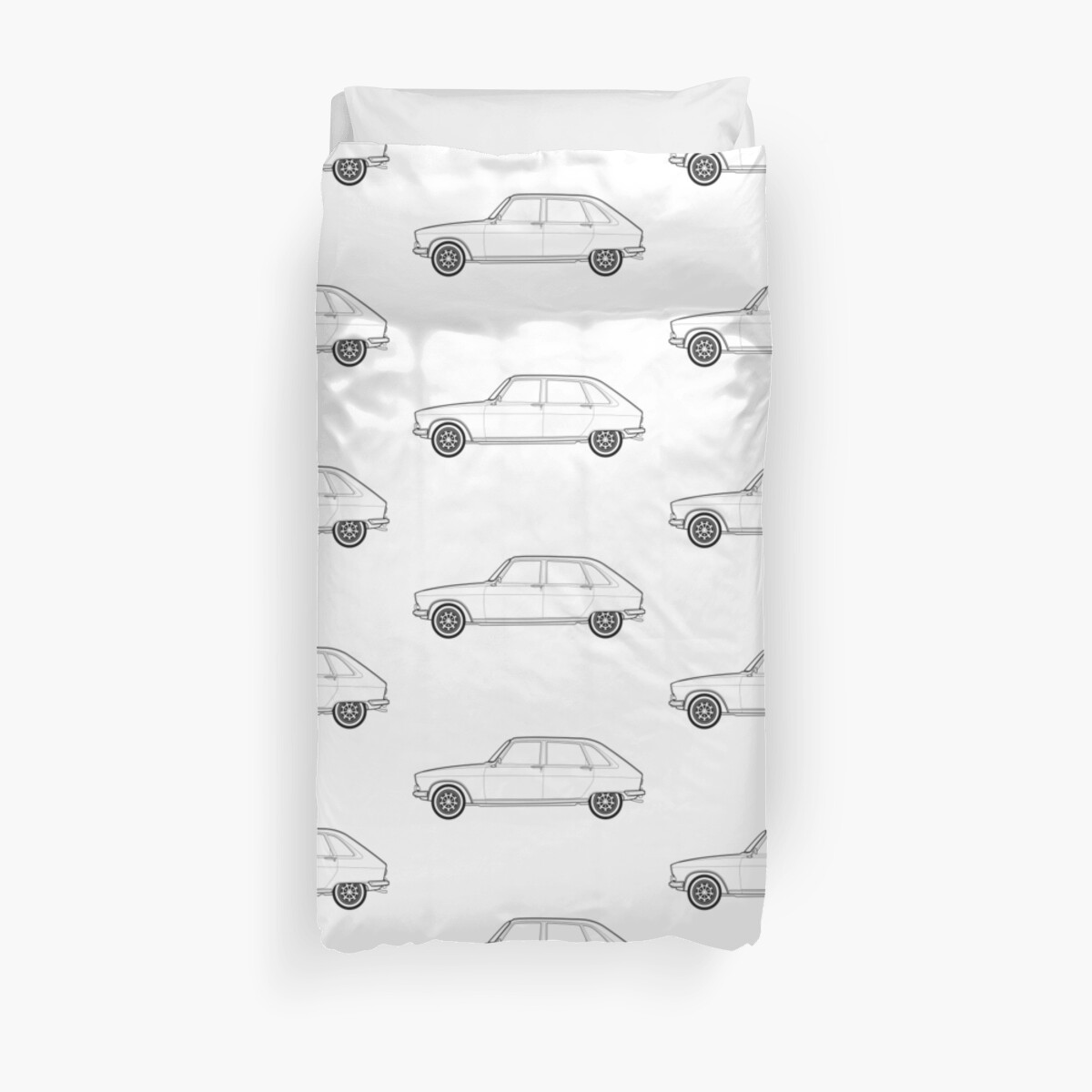 Renault 16 Classic Car Outline Artwork Duvet Covers By