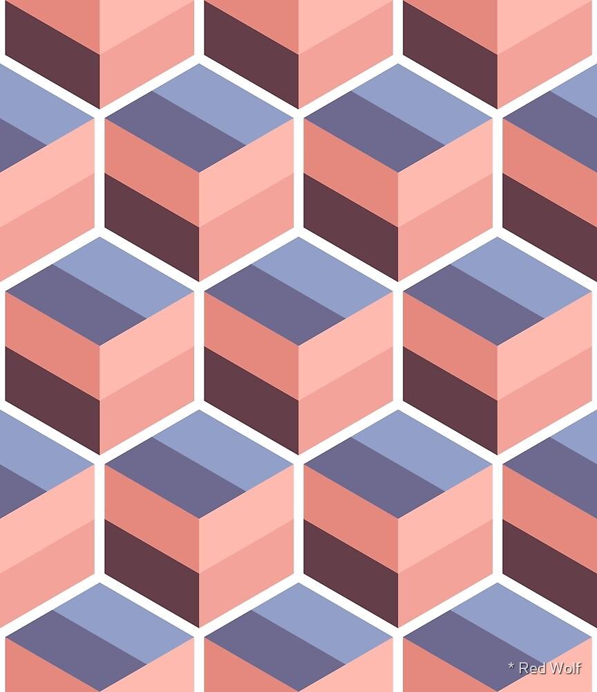 Geometric Pattern: Cube Stripe: Desert by * Red Wolf