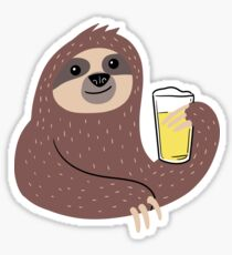 Sloth Drinking Beer  Sticker
