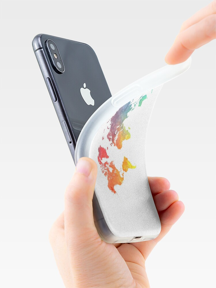 Alternate view of Map of the world colored iPhone Case & Cover