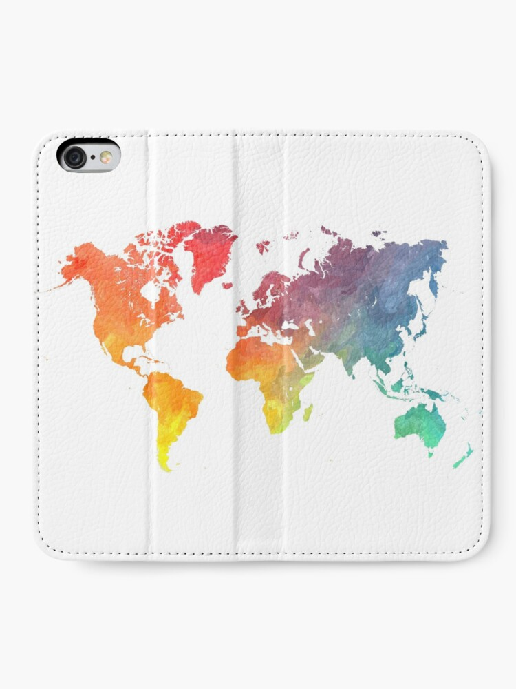 Alternate view of Map of the world colored iPhone Wallet