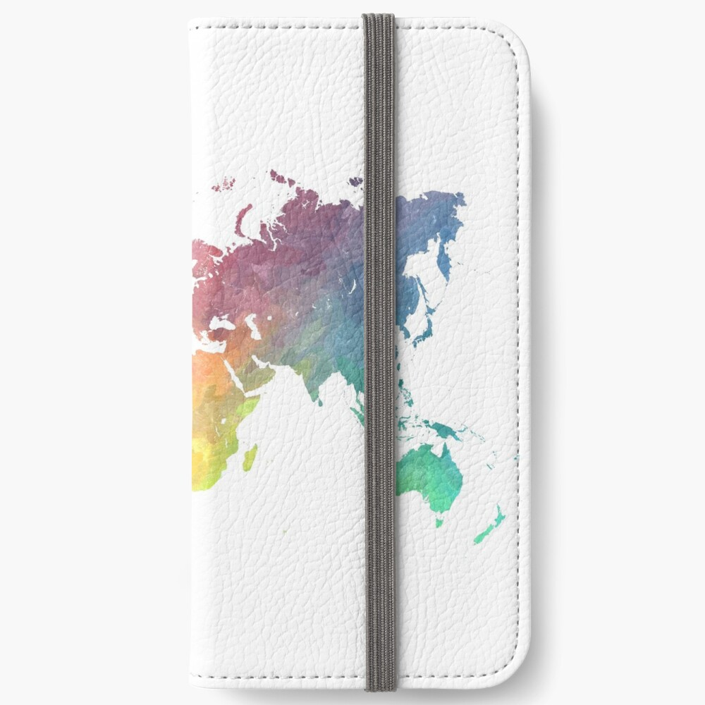 Map of the world colored iPhone Wallet