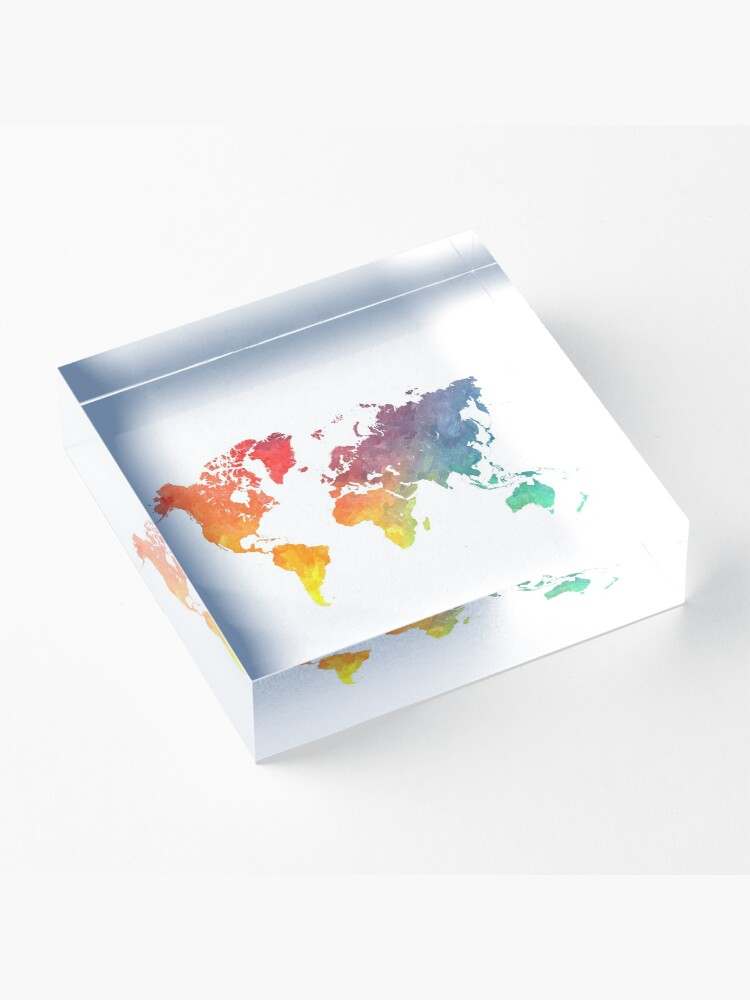 Alternate view of Map of the world colored Acrylic Block