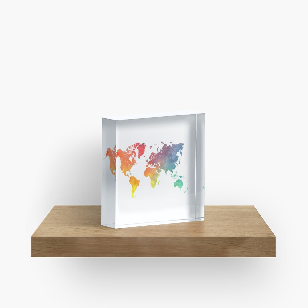 Map of the world colored Acrylic Block