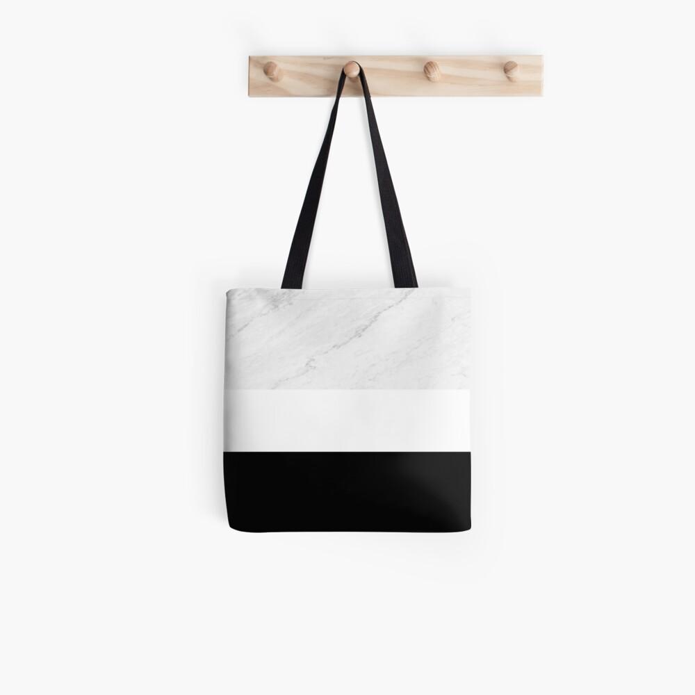 Marble White Black Tote Bag