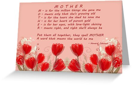 M o t h e r meaning for mothers day products greeting cards by m o t h e r meaning for mothers day products by vickie emms m4hsunfo Images