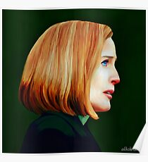 Dana Scully's side profile in oil colors Poster