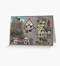 Inkwork Fantasy Structures (in colour) Greeting Card