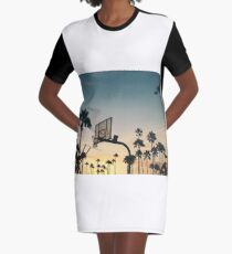 Basketball hoop in the sunset. Gift idea Graphic T-Shirt Dress