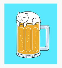 Cat Beer Photographic Print