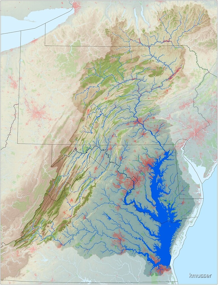Chesapeake Bay Watershed Map - Modified Landscape by kmusser