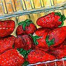 Basket of Strawberries by bernzweig