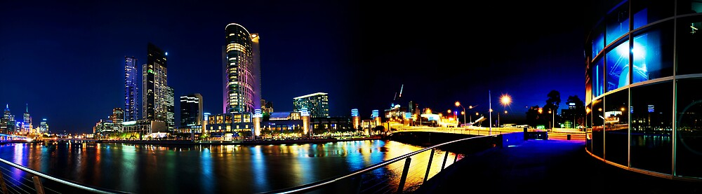 Crown Casino Night Panorama by mauricegue
