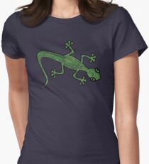 Green Gecko with pattern Women's Fitted T-Shirt