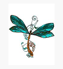 Aqua Blue Watercolor Dragonfly Photographic Print