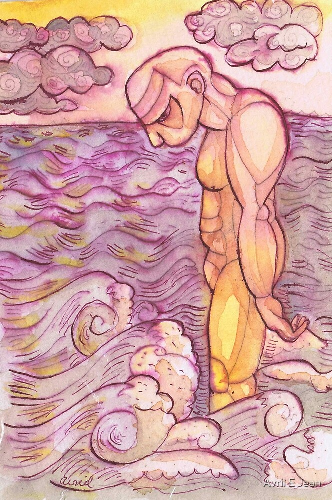 Man and Ocean by Avril E Jean