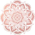 Flower Rose Gold Mandala by julieerindesign