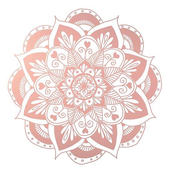 Flower Rose Gold Mandala by julieerindesign